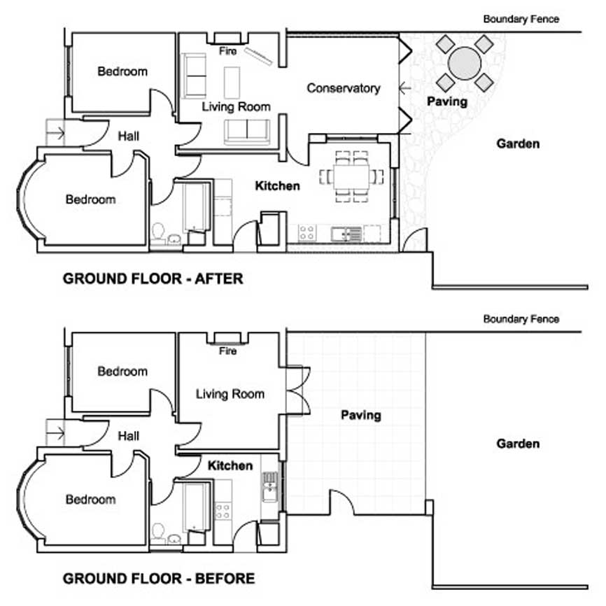 Architect architectural services private and commercial for Floor plans for a semi detached house extension